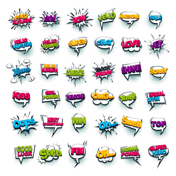 Comic text collection sound effects pop art style Comic text WOW, boom, bang collection sound effects pop art style. Set vector speech bubble with word phrase cartoon expression illustration. Comics book colored background template. single word stock illustrations