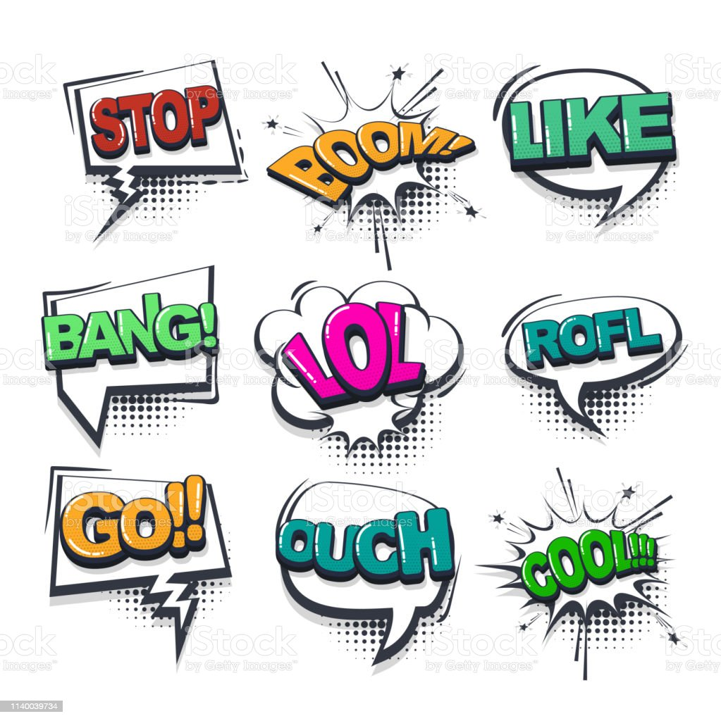 Comic Text Collection Sound Effects Pop Art Style Stock