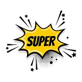 Lettering super sale boom. Comics book balloon. Bubble icon speech phrase. Cartoon exclusive font label tag expression. Comic text sound effects. Sounds vector illustration.