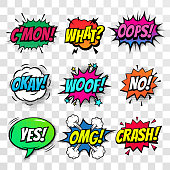 Comic text speech bubbles vector isolated templates set. Pop art Sound effect Oops, Come on,  What, Whoof and No or Crash, OMG and Yes cloud icon of color phrase color lettering on white background