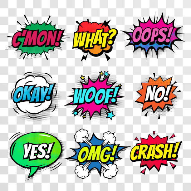 Comic text speech bubbles vector isolated templates set. Pop art Sound effect Oops, Come on,  What, Whoof and No or Crash, OMG and Yes cloud icon of color phrase color lettering on white background Comic text speech bubbles vector isolated templates set. Pop art Sound effect Oops, Come on,  What, Whoof and No or Crash, OMG and Yes cloud icon of color phrase color lettering on white background mistake stock illustrations