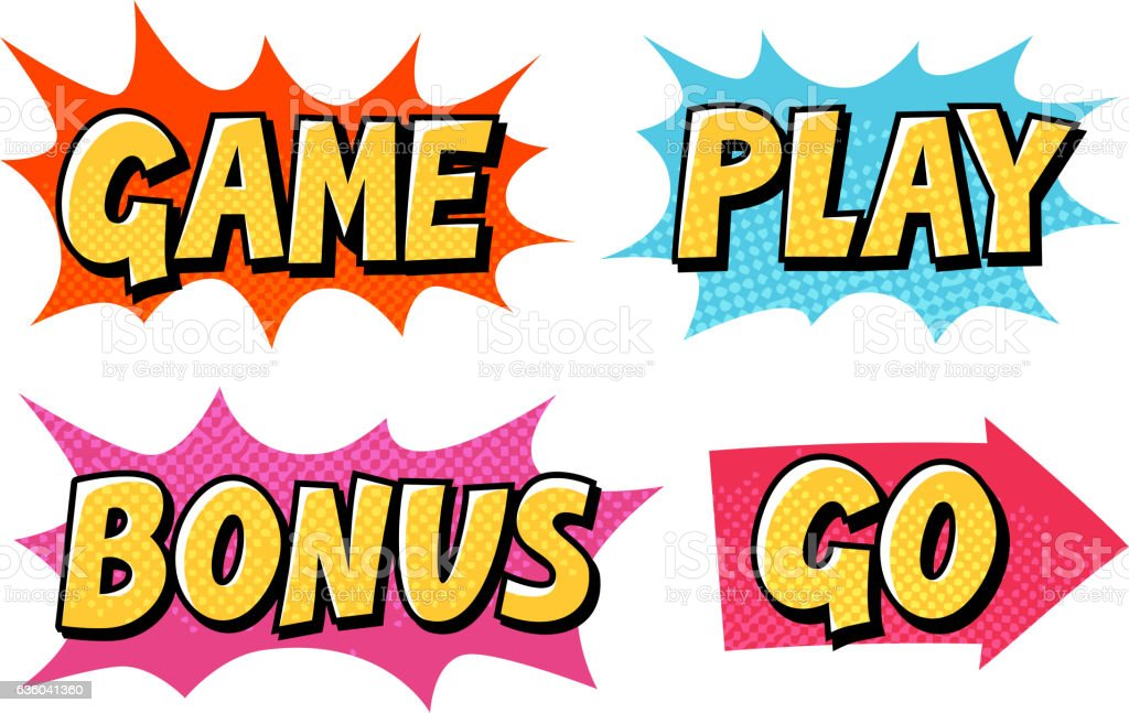 Comic text vector icons. Lettering such as Game, Play, Go vector art illustration