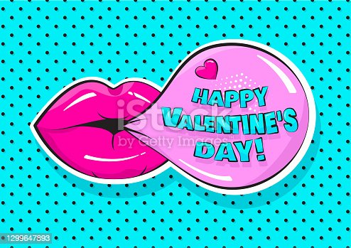 istock Comic vector gum bubble with Valentines Day text and pink lips. Greeting card in pop art style. Holiday illustration 1299647893