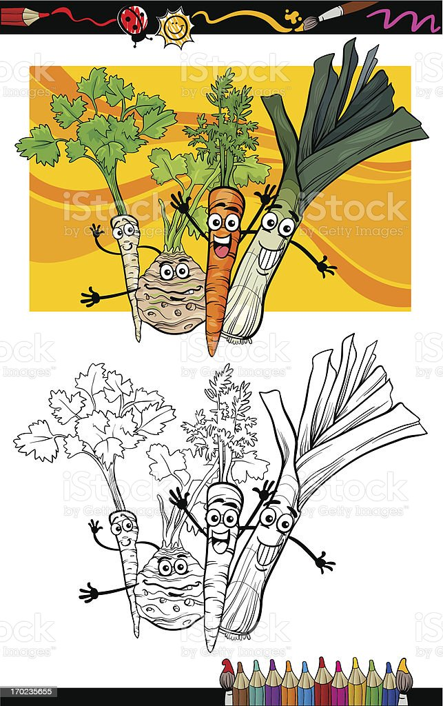 comic vegetables group for coloring book royalty-free stock vector art