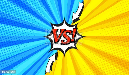 Comic versus horizontal background with two opposite sides, arrows, white speech bubble, radial and halftone effects in blue and yellow colors. Vector illustration