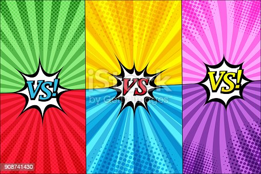 Comic versus templates set with three speech bubbles halftone and radial humor effects in different colors. Vector illustration