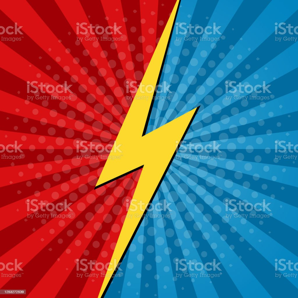Comic Vs Background Battle Of Superhero Cartoon Art For Book Boom Hero Concept Template For Fight In Game Pop Banner With Halftone For Bubble Versus Poster Logo Of Clash And Explosion Vector