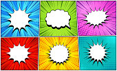 Comic white speech bubbles set with clouds of different shapes radial halftone circles stripes and rays humor effects. Vector illustration