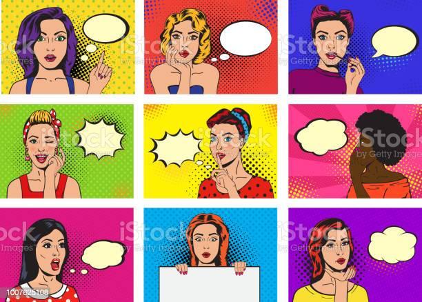 Comic woman vector popart cartoon girl character speaking bubble or vector id1007625108?b=1&k=6&m=1007625108&s=612x612&h=sl nuwkresowpmfac0sbscorhwebfrddhxqmj87kgko=