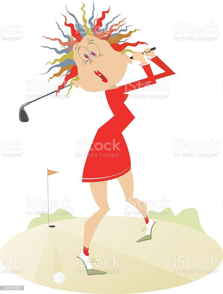 Comic women is playing golf vector art illustration