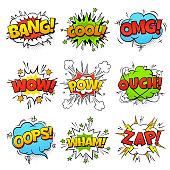 Comic words. Cartoon speech bubble with zap pow wtf boom text. Comics pop art balloons vector illustration set