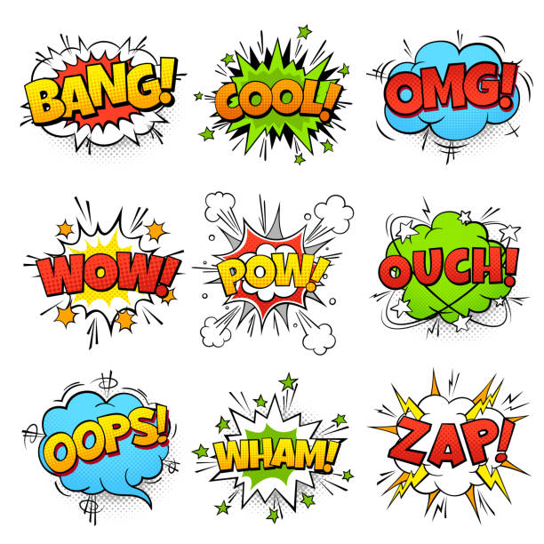 comic words. cartoon speech bubble with zap pow wtf boom text. comics pop art balloons vector set - поп арт stock illustrations