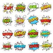 Comic words. cartoon boom crash speech bubble funny elements and kids sketch stickers vector set