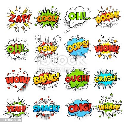 Comic words. cartoon boom crash speech bubble funny elements and kids sketch stickers vector set