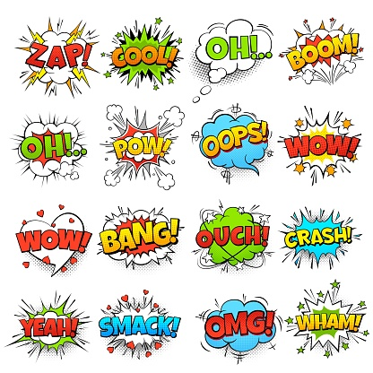 Comic words. Cartoon speech bubble with zap pow wtf boom text. Comics pop art balloons vector set clipart
