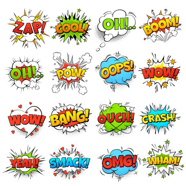 Comic words. Cartoon speech bubble with zap pow wtf boom text. Comics pop art balloons vector set Comic words. cartoon boom crash speech bubble funny elements and kids sketch stickers vector set exploding stock illustrations