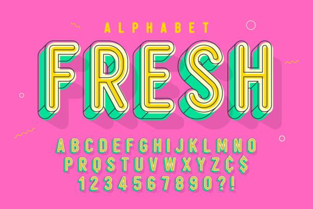 comical linear font design, colorful alphabet, typeface - bubble fonts stock illustrations