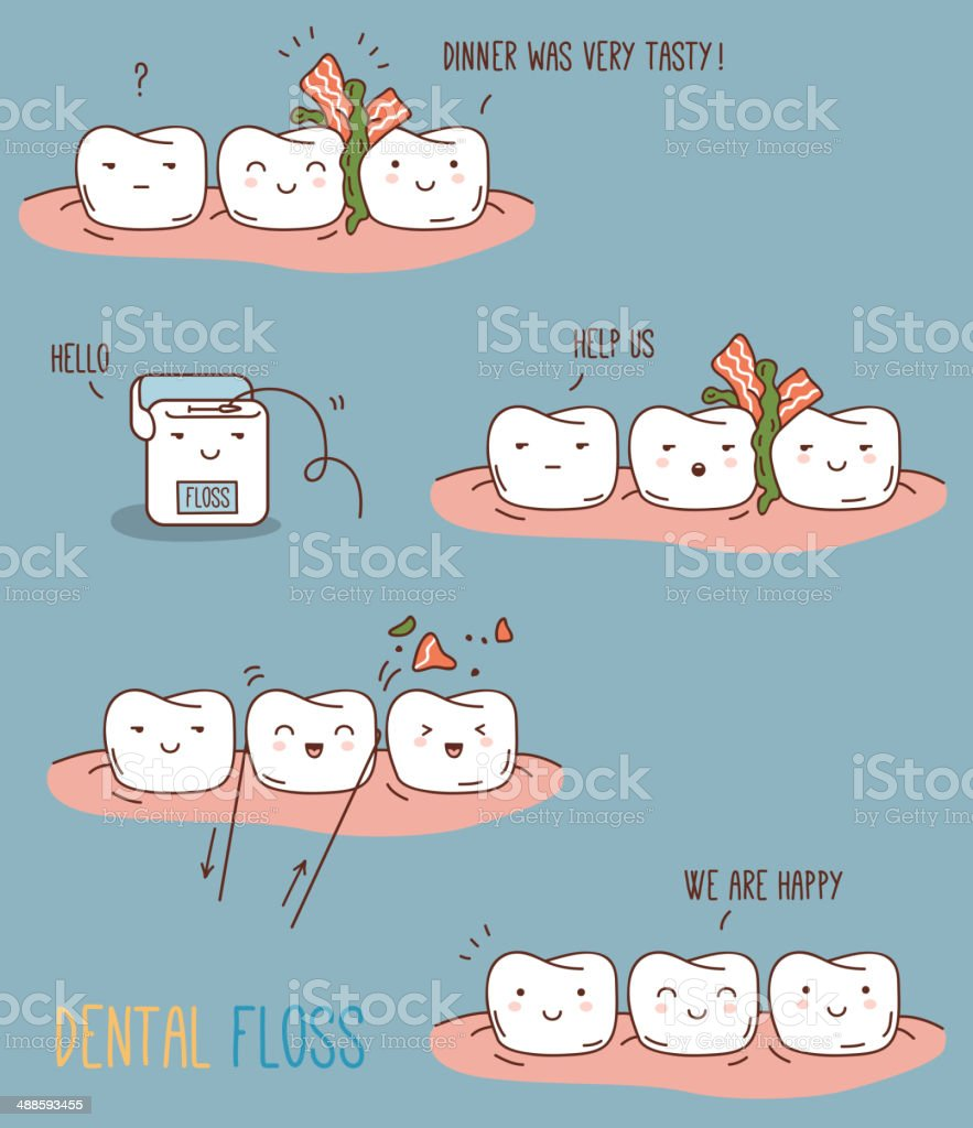 Comics about dental floss. vector art illustration