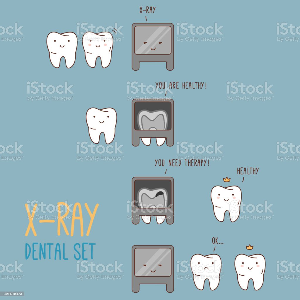 Comics about dental X-ray. vector art illustration