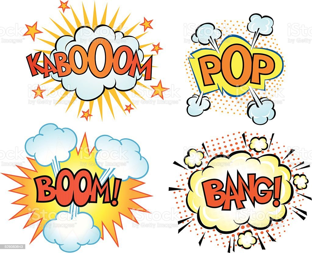 Comics Book Exsplosions Set vector art illustration