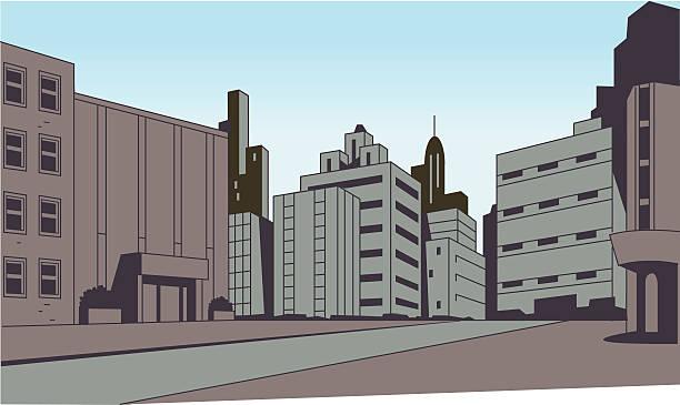 Comics City Street Scene Background vector art illustration