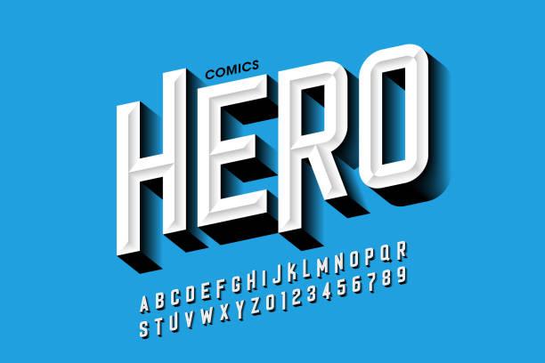 Comics hero style font vector art illustration