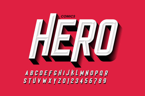 Comics hero style font Comics hero style font design, alphabet letters and numbers vector illustration alphabet patterns stock illustrations