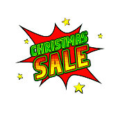 """Comics icon """"Christmas Sale"""". Isolated speech bubble on the white background. Christmas card. Vector illustration in pop art style"""
