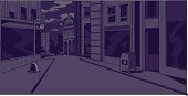 Night time generic city street scene for comics and animation