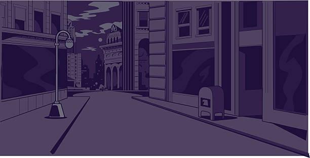 Comics Night City Street Scene vector art illustration