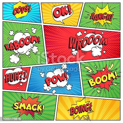 istock Comics page. Comic book grid frame, funny oops bam smack text speech bubbles on color stripes background vector layout template 1055175816
