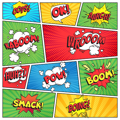 Comics page. Comic book grid frame, funny oops bam smack text speech bubbles on color stripes background vector layout template clipart