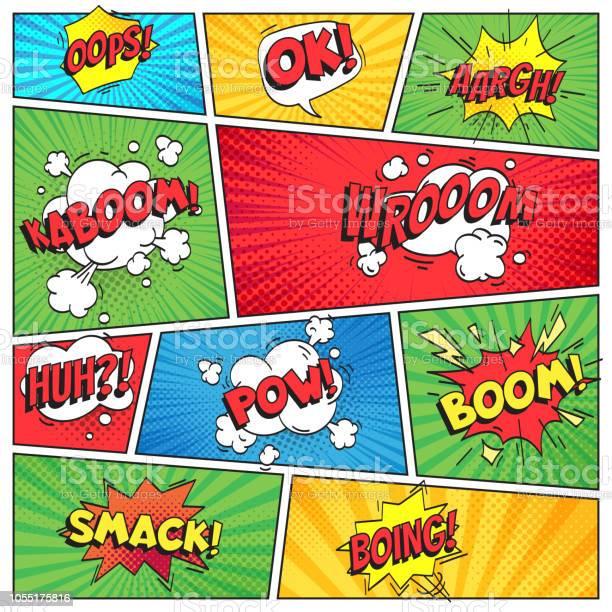 コミックスのページ漫画本グリッド フレーム面白いおっと Bam スマック テキスト吹き出し色のストライプの背景ベクトル レイアウト テンプレート - OKサインのベクターアート素材や画像を多数ご用意