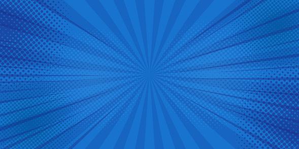 Comics Rays Background With Halftones Vector Summer Backdrop Illustrations — стоковая векторная графика и другие изображения на тему Абстрактный