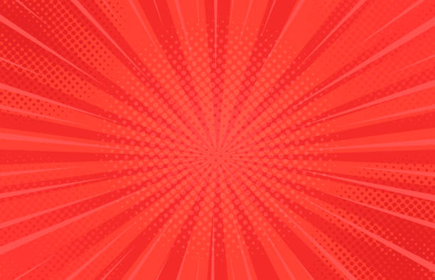 Comics Strahlen Hintergrund mit Halbtönen. Vektor Sommer Hintergrund Illustrationen – Vektorgrafik