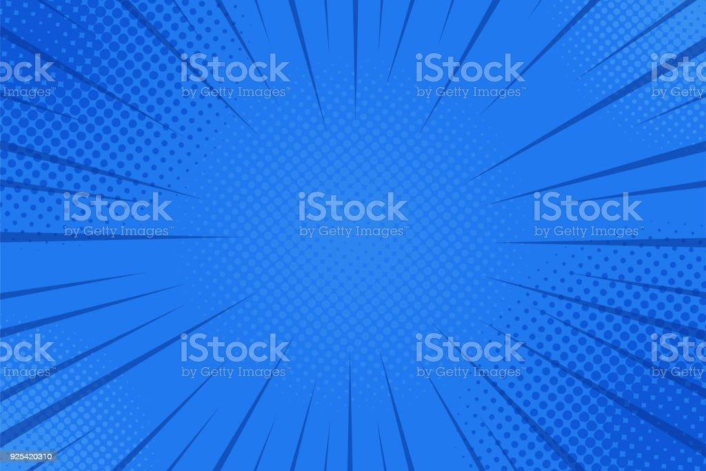Comics rays background with halftones. Vector summer backdrop illustrations - Векторная графика Абстрактный роялти-фри