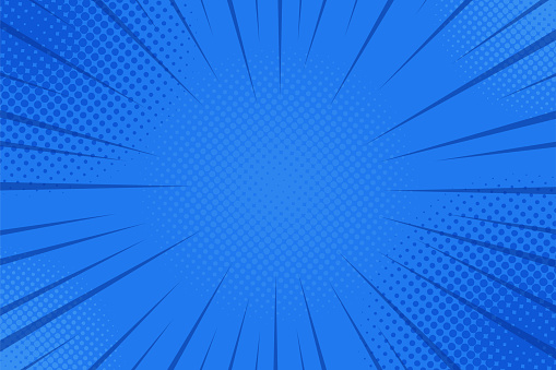 Comics rays background with halftones. Vector summer backdrop illustrations clipart