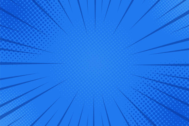 comics rays background with halftones. vector summer backdrop illustrations - blue drawings stock illustrations