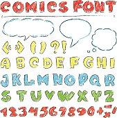 vector illustration of  English alphabet in comics style