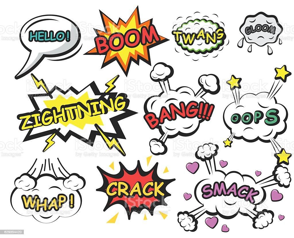 Comics speech bubbles elements vector art illustration