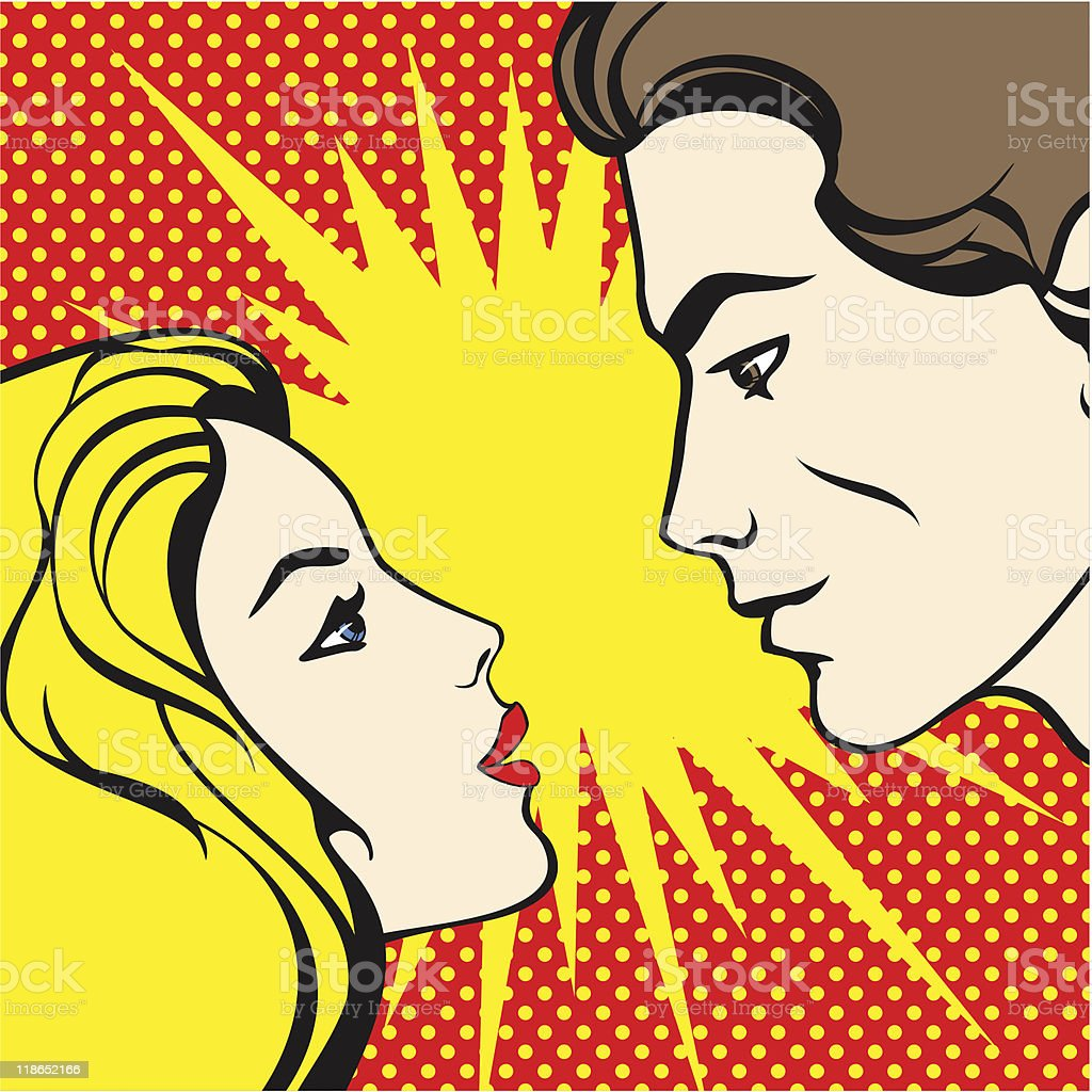 comics style couple royalty-free stock vector art