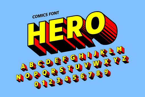 Comics style font design clipart