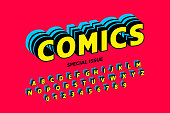 Comics style font design, alphabet letters and numbers vector ilustration