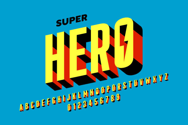 Comics style font design Comics style font design, alphabet letters and numbers vector illustration alphabet symbols stock illustrations