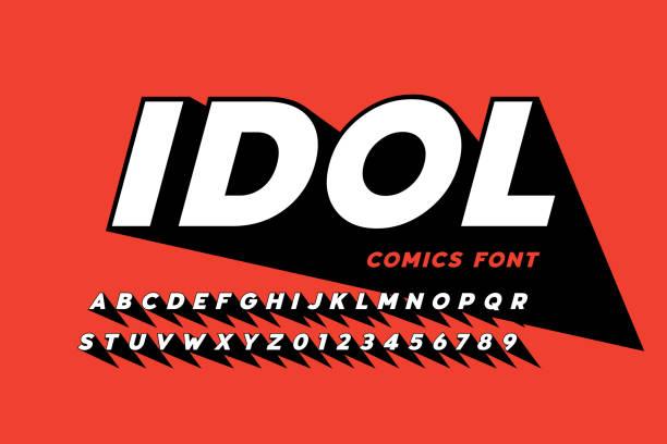 Comics style font design vector art illustration