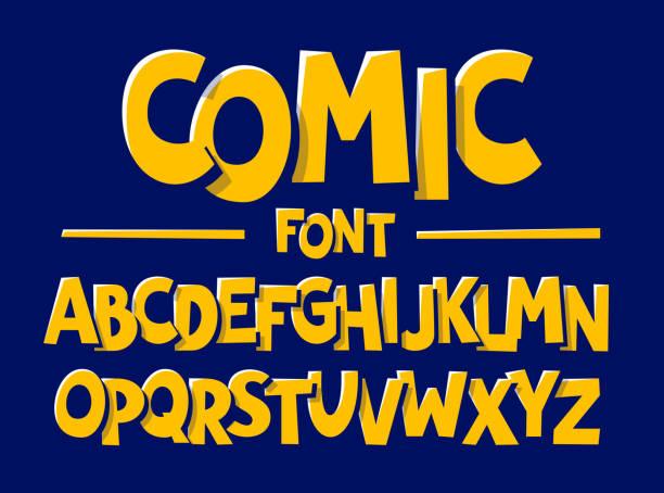 comics style font - cartoon fonts stock illustrations, clip art, cartoons, & icons