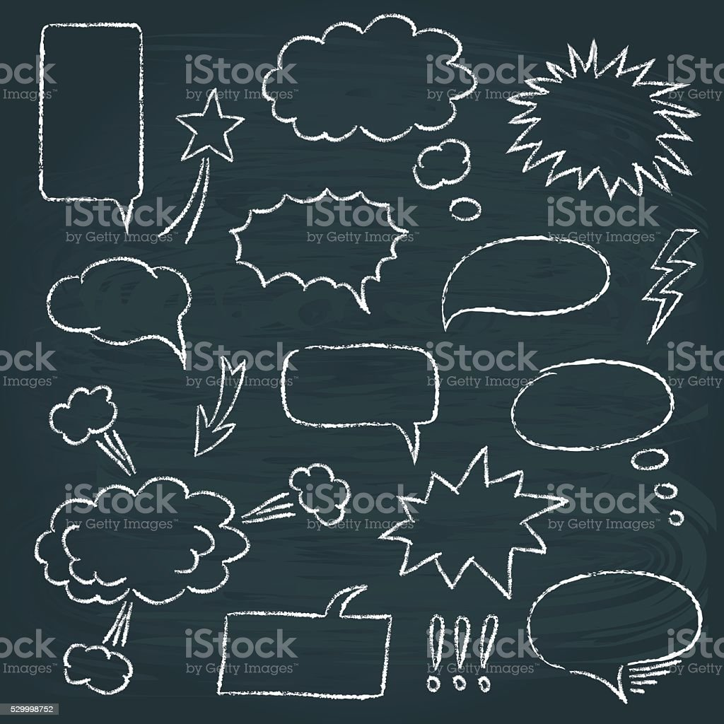 Comics style speech bubbles set vector art illustration