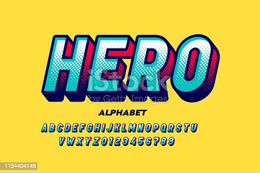 Comics super hero style font, alphabet letters and numbers vector illustration