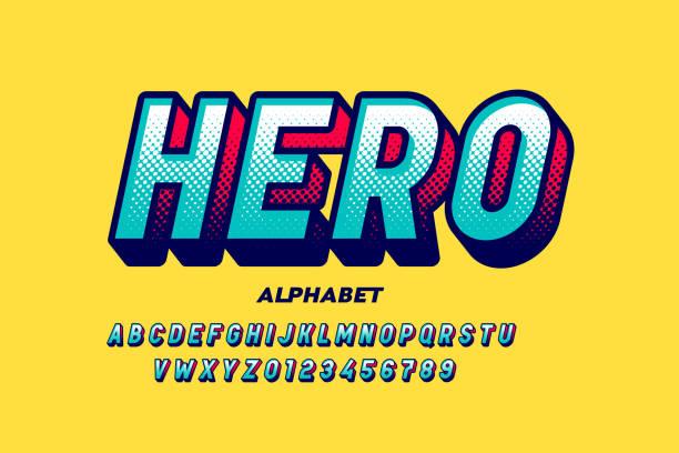 Comics super hero style font vector art illustration