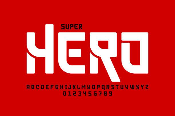 comics super hero style font - azja stock illustrations